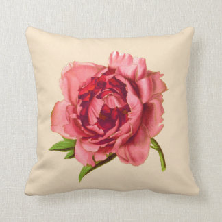 Vintage Illustration of a Large Coral Pink Peony Throw Pillow