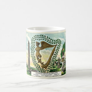 Vintage illustration of shamrock woman harp coffee mug