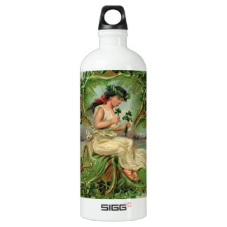 Vintage illustration of sweet little shamrock girl water bottle