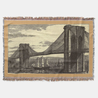 Vintage Illustration of The Brooklyn Bridge (1879) Throw Blanket