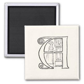 Vintage Illustration of the Letter A Magnet