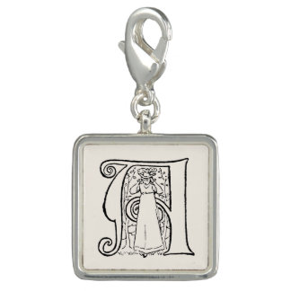 Vintage Illustration of the Letter A Photo Charms