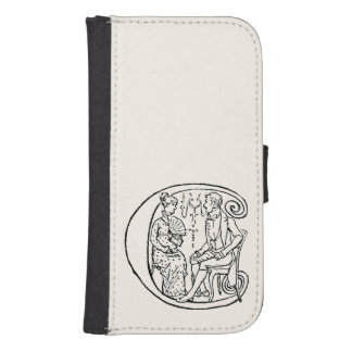 Vintage Illustration of the Letter c Samsung S4 Wallet Case