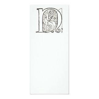 """Vintage Illustration of the Letter N 4"""" X 9.25"""" Invitation Card"""
