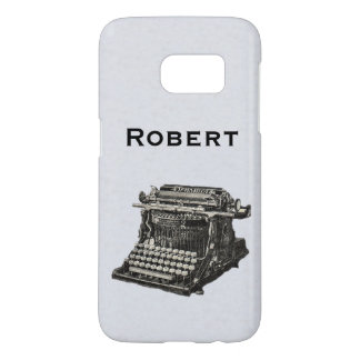 Vintage Illustration Old Manual Typewriter on Gray Samsung Galaxy S7 Case