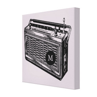 Vintage Illustration Radio Monogram Canvas