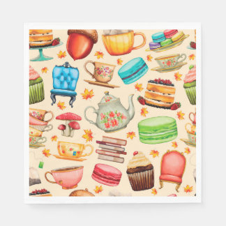 Vintage illustration, Retro. cups, tea, cake Disposable Napkins