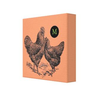 VINTAGE Illustration Rooster Hen Monogram Canvas