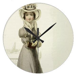 Vintage Illustration:  Stylish Dress & Sundial Large Clock