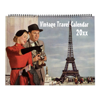 Vintage Illustration Travel and Transportation Wall Calendar