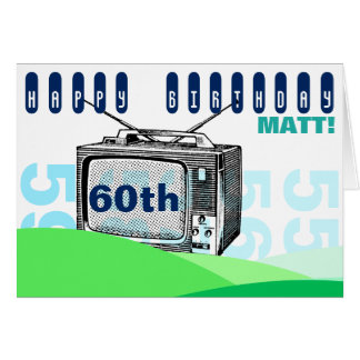 Vintage Illustration TV 60th Birthday Greeting C Card