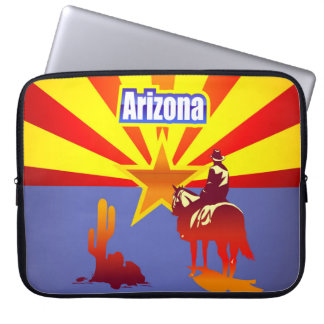 Vintage Illustration With Arizona State Flag Laptop Sleeves
