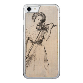 Vintage illustration woman playing the violin carved iPhone 7 case