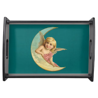 Vintage Image - Angel Sitting on a Crescent Moon Serving Tray