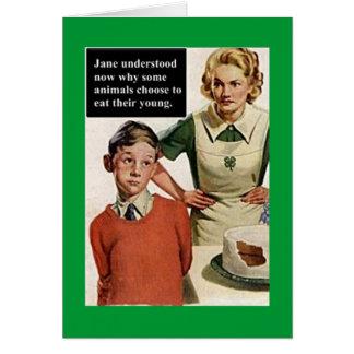 Vintage Image Angry Mom and Cake Card