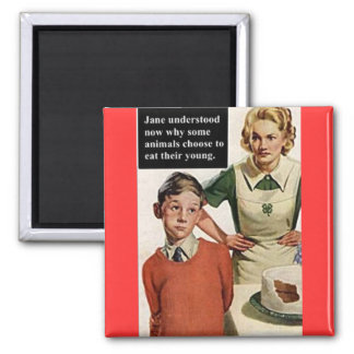 Vintage Image Angry Mom and Cake Square Magnet