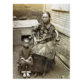 Vintage image,Chinese mother and child, circa 1880 Postcard