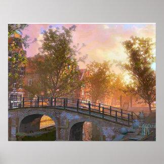 Vintage image, Delft, bridge over a canal Poster