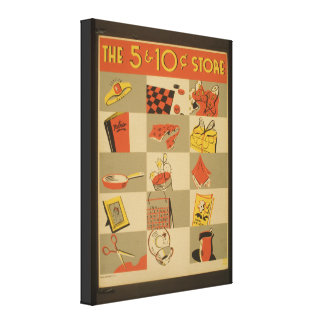 Vintage Image Five and Dime Wrapped Canvas Piece