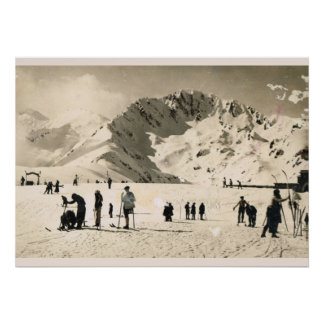 Vintage image, France, Superbagneres, Skiing Poster