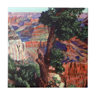 Vintage Image of Grand Canyon Landscape Tile