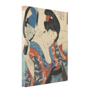 Vintage Image of Japanese Lady Using Hand Mirror Canvas Print