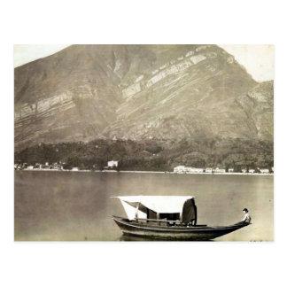 Vintage image of Lake Como, traditional lake boat Postcard