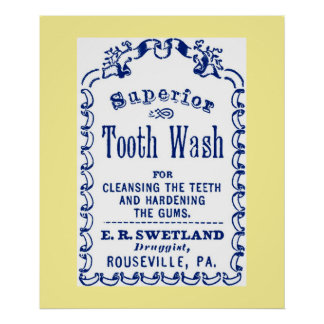 Vintage Image on Tooth Wash Dental Hygiene Poster