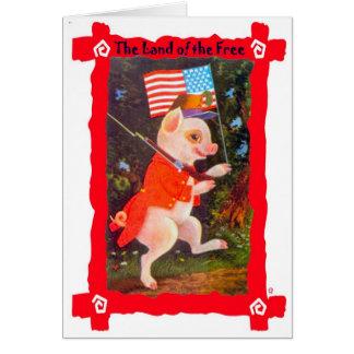 Vintage image, Patriotic pig Card