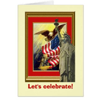 Vintage image,Patriotic symbols Card