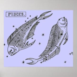Vintage Image - Zodiac - Pisces Poster