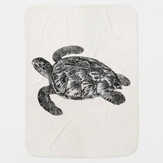 Vintage Imbricated Sea Turtle - Turtles Template Baby Blanket