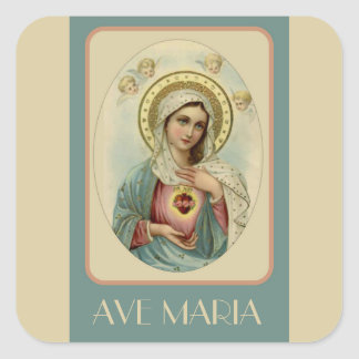 Vintage Immaculate Heart of Mary AVE MARIA Square Sticker