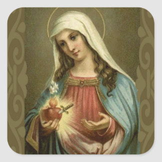 Vintage Immaculate Heart of Mary Square Sticker