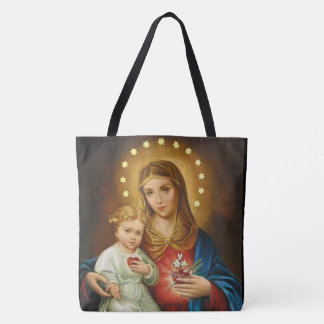 Vintage Immaculate Heart of Mary w/Baby Jesus Tote Bag