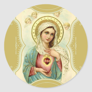 Vintage Immaculate Heart of Mary w/cherubs Classic Round Sticker