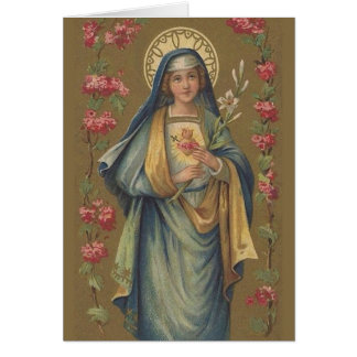 Vintage Immaculate Sorrowful Heart of Mary Card