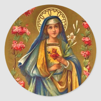Vintage Immaculate & Sorrowful Heart of Mary Classic Round Sticker