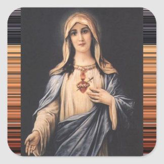 Vintage Immaculate & Sorrowful Heart of Mary Square Sticker