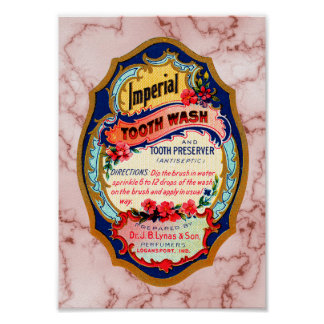 Vintage Imperial Tooth Wash Label Poster
