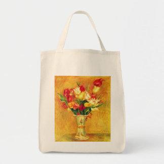 Vintage Impressionism Flowers, Tulips by Renoir Grocery Tote Bag