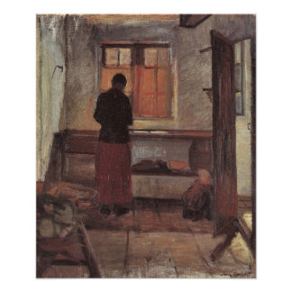 Vintage Impressionism, Girl in the Kitchen, Ancher Poster