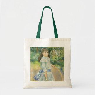 Vintage Impressionism, Girl with Hoop by Renoir Budget Tote Bag