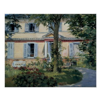 Vintage Impressionism, House at Rueil by Manet Poster