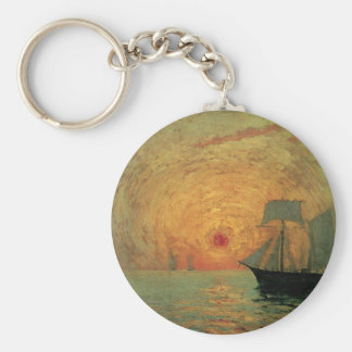 Vintage Impressionism, Red Sun by Maxime Maufra Basic Round Button Keychain