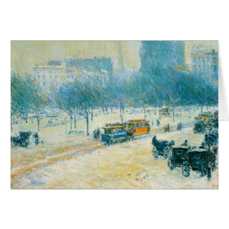 Vintage Impressionism, Union Square by Hassam Greeting Card