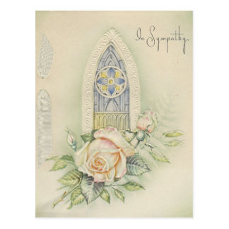 Vintage In Sympathy with Roses Postcard