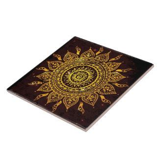 Vintage India Solar Motif Sun God Tile