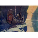 Vintage Indian Canoe Paddling with Sun Symbol Photo Sculpture Magnet