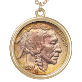 Vintage Indian Head Nickel Coin Collector Charm Gold Plated Necklace